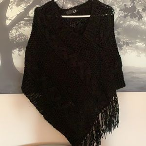 Black boho shawl